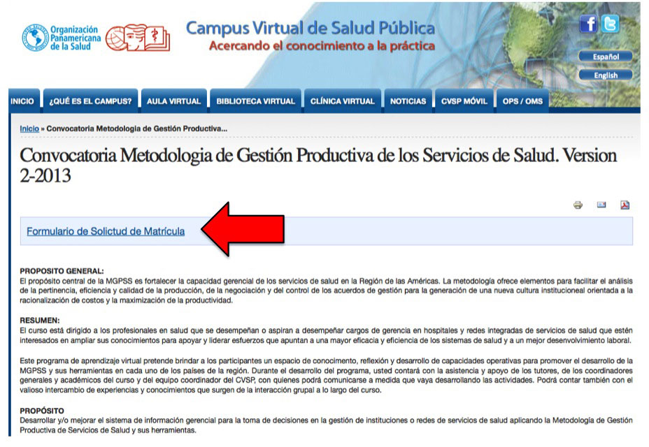 Ejemplo de convocatoria a curso CVSP