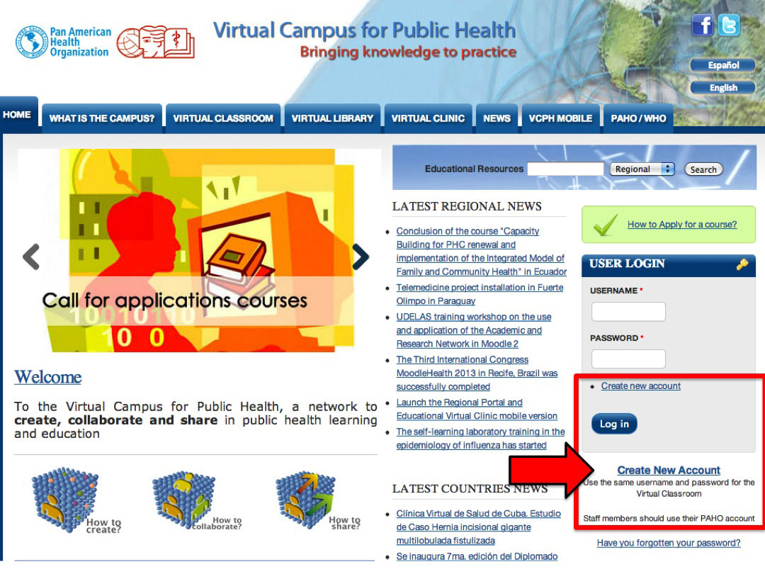 Create new account VCPH
