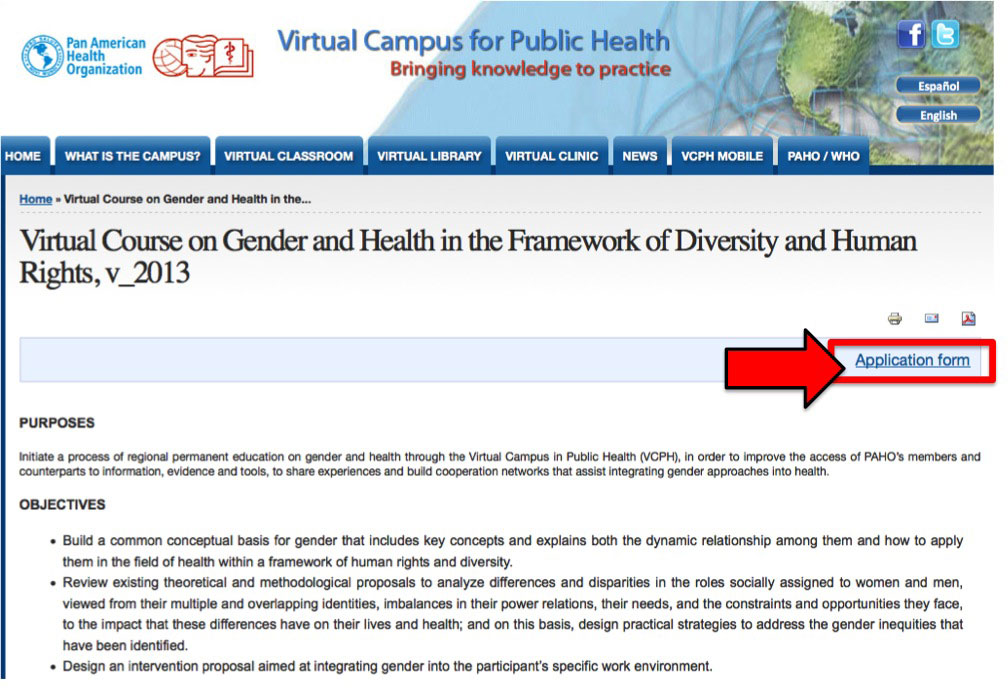 Example announcement page VCPH course